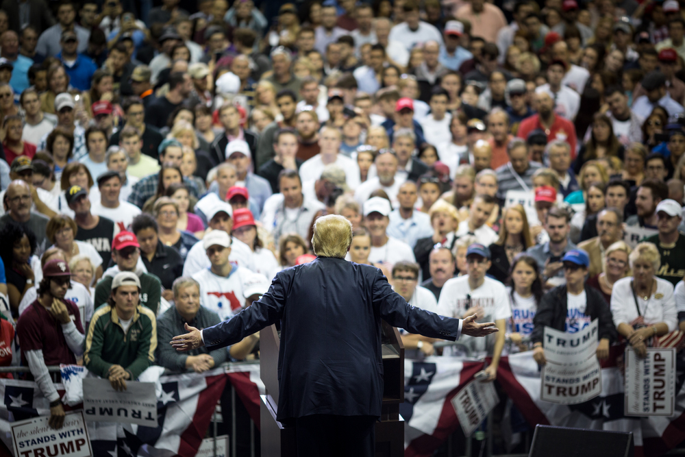 Donald Trump hosts a rally during his presidential campaign at the University of South Florida Sun Dome in Tampa, Fla., on Friday, Feb. 12, 2016. Trump is leading Florida polls for the Republican nomination.