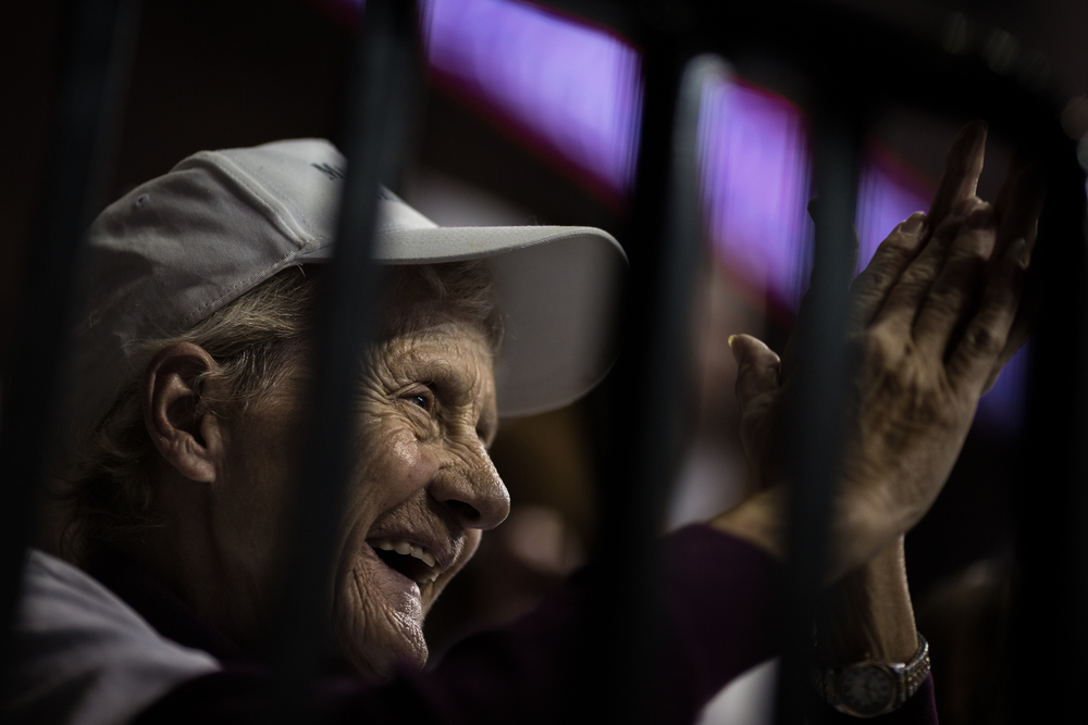 Trump supporter Patricia Carlisle of Tampa cheers during a Donald Trump rally at the University of South Florida Sun Dome in Tampa, Fla., on Friday, Feb. 12, 2016. Carlisle claims she has exchanged numerous emails with Trump himself.