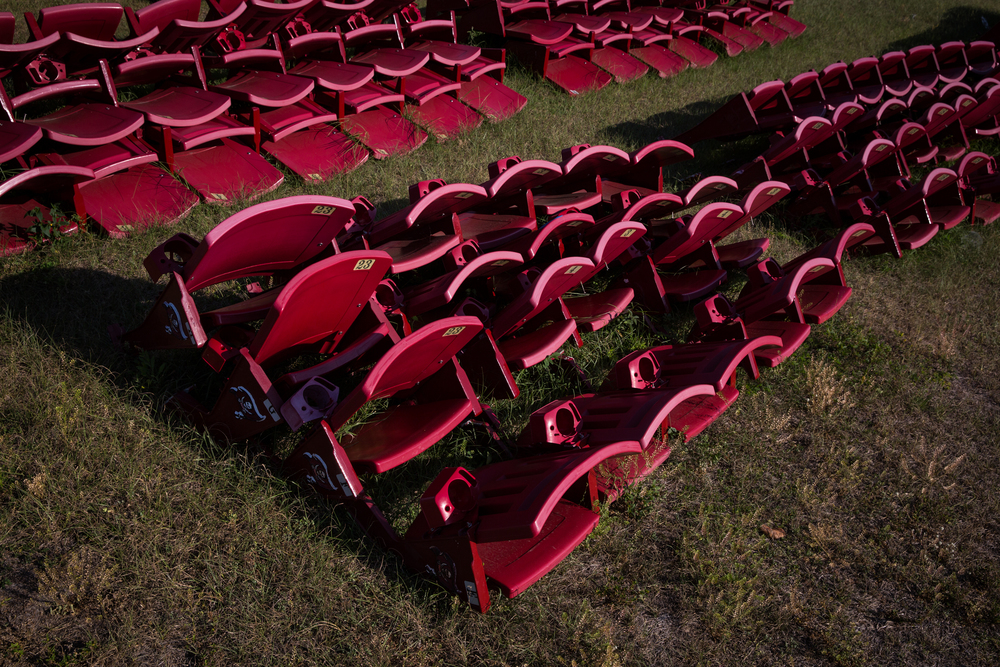 Where old stadium seats go to die - a field behind Raymond James Stadium.
