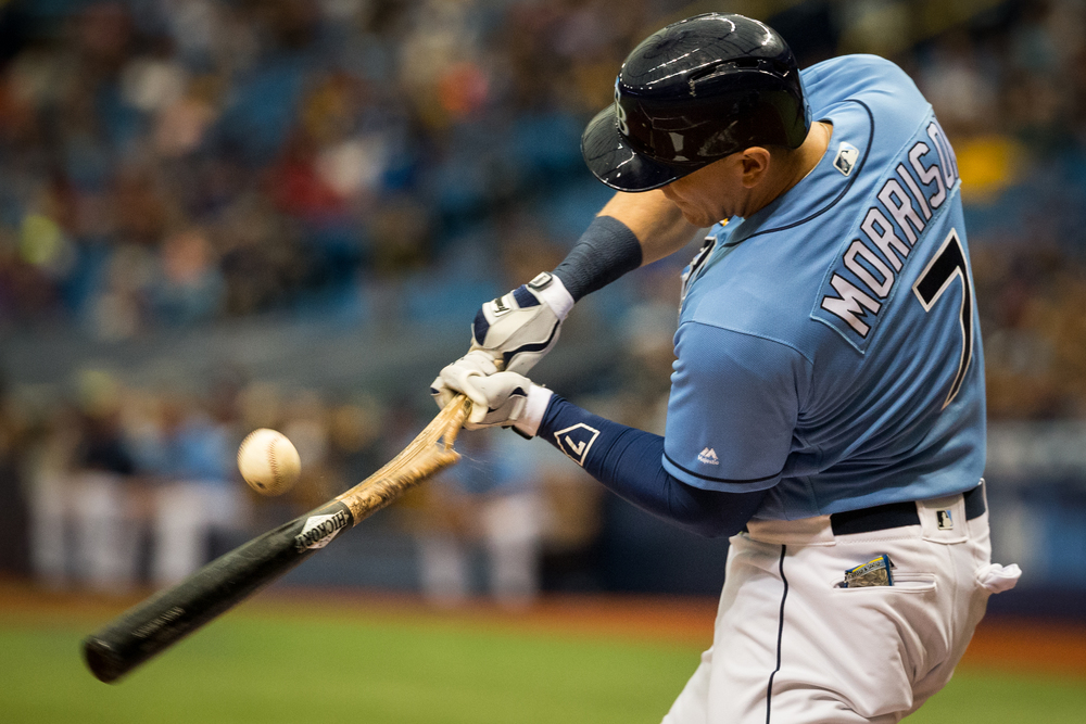 Tampa Bay Rays first baseman Logan Morrison breaks his bat on a popup out in the second inning of a game against the visiting Toronto Blue Jays at Tropicana Field in St. Petersburg, Fla., on Sunday, May 1, 2016.