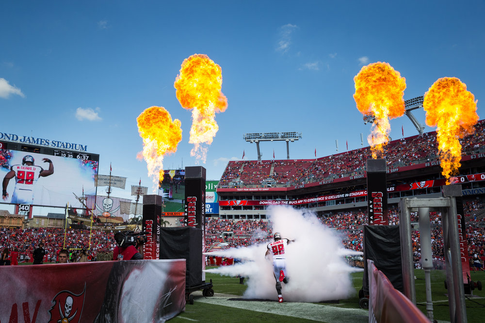 Tampa Bay Buccaneers defensive tackle Clinton McDonald takes the field before a game against the Chicago Bears at Raymond James Stadium in Tampa, Fla., on Sunday, Nov. 13, 2016. The Bucs won 36-10.