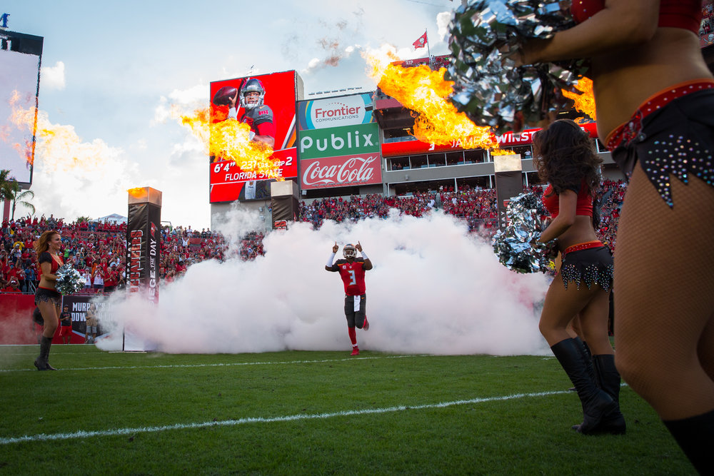 Tampa Bay Buccaneers quarterback Jameis Winston (3) takes the field before playing the Seattle Seahawks at Raymond James Stadium in Tampa, Fla., on Sunday, Nov. 27, 2016.