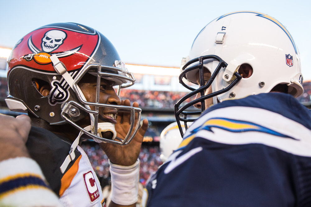 Tampa Bay Buccaneers quarterback Jameis Winston (3) and San Diego Chargers quarterback Philip Rivers (17) greet one another at midfield following a Tampa Bay Buccaneers victory at Qualcomm Stadium in San Diego, Calif., on Sunday, Dec. 4, 2016.