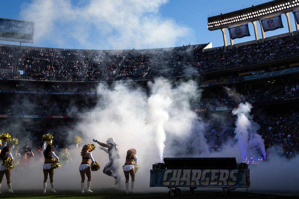 San Diego Chargers offensive tackle Tyreek Burwell (78) takes the field before a football game against the Tampa Bay Buccaneers at Qualcomm Stadium in San Diego, Calif., on Sunday, Dec. 4, 2016.