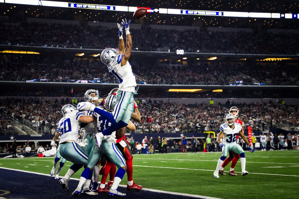 Dallas Cowboys free safety Byron Jones (31) intercepts a pass from Tampa Bay Buccaneers quarterback Jameis Winston (3) on the last play of the first half at AT&T Stadium in Arlington, Texas, on Sunday, Dec. 18, 2016.