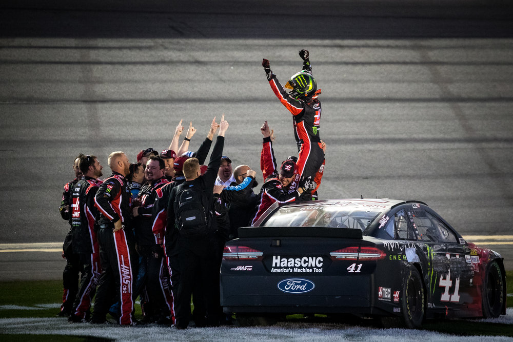 The Kurt Busch Haas Automation/Monster Energy Ford team celebrates a victory at the Daytona 500 NASCAR race at Daytona International Speedway in Daytona Beach, Fla., on Sunday, Feb. 26, 2017.
