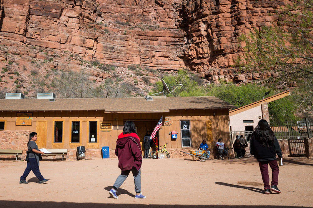 The Havasupai post office and store share a building in the village's center.