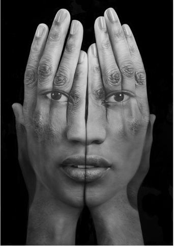 "Tigran Tsitoghdzyan Mirror lll, 2013, oil on canvas 75"" x 50"""