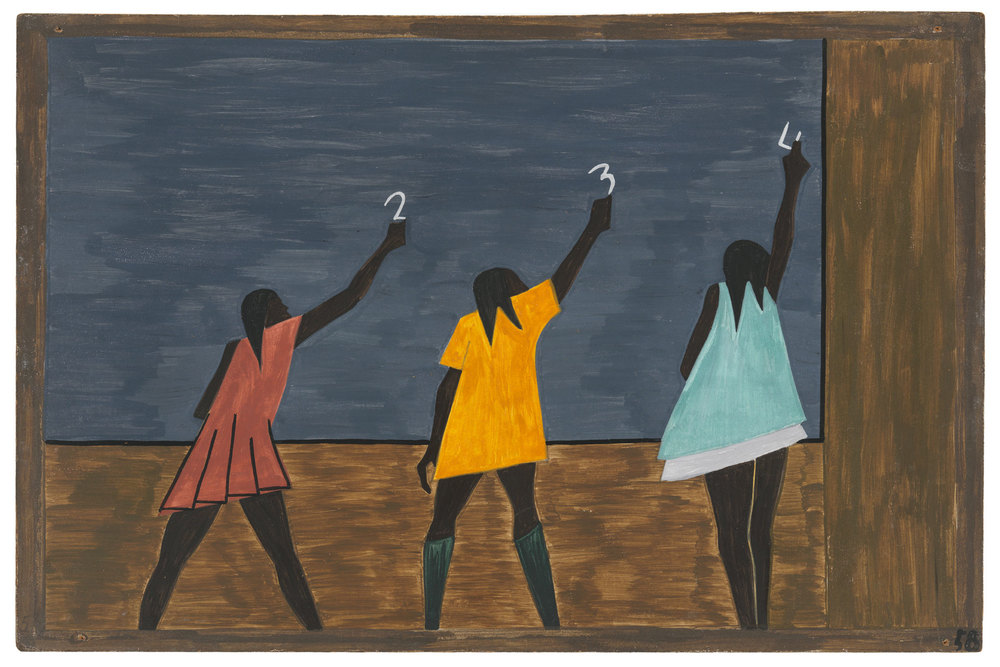 "Jacob Lawrence. The Migration Series. 1940-41. Panel 58: ""In the North the Negro had better educational facilities."" Casein tempera on hardboard, 18 x 12″ (45.7 x 30.5 cm). The Museum of Modern Art, New York. Gift of Mrs. David M. Levy. © 2015 The Jacob and Gwendolyn Knight Lawrence Foundation, Seattle / Artists Rights Society (ARS), New York. Digital image © The Museum of Modern Art/Licensed by SCALA / Art Resource, NY"