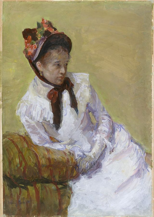 Self-portrait   by Mary Cassatt, c. 1878,    on paper, 23⅝ × 16 3/16 in.   Source:    Wiki  Gallery.org