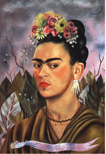 FRIDA KAHLO (1907-1954)   'Self Portrait', 1940 (oil on board).   Dedicated To Dr Eloesser 1940.     Source: WikiGallery.org