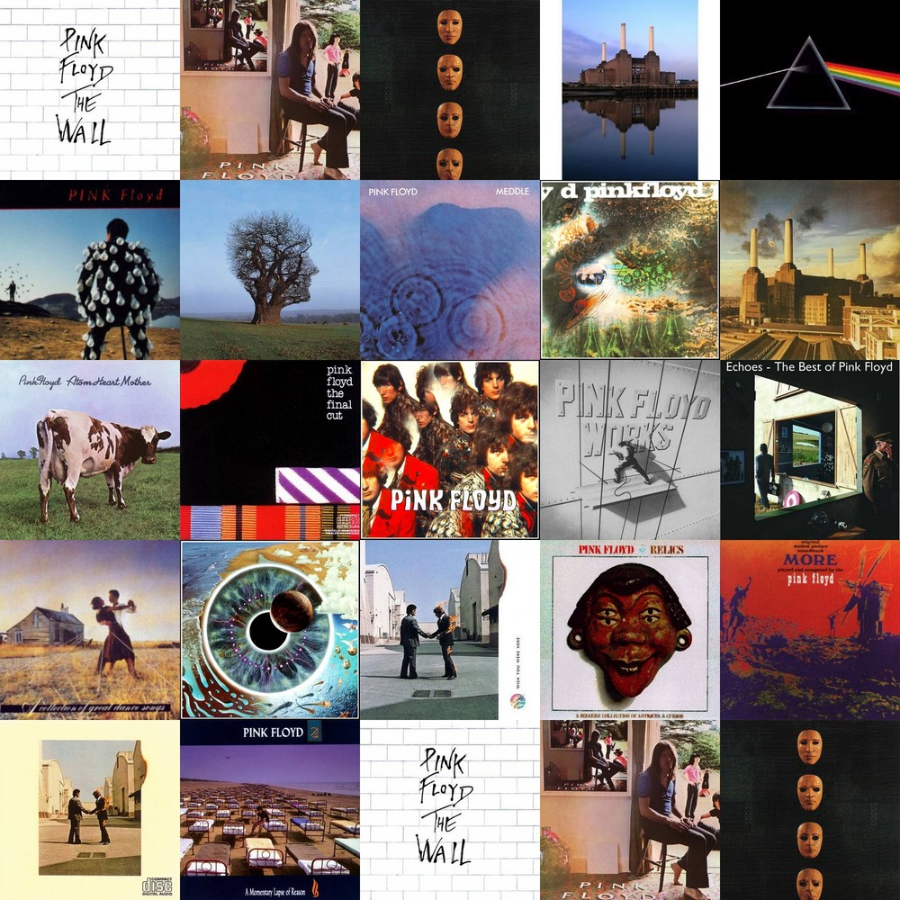 Pink Floyd album cover collage
