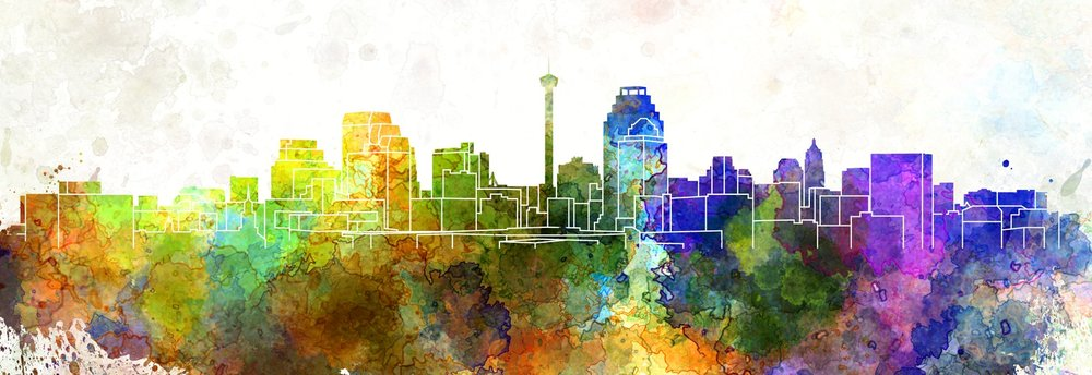 painting of san antonio skyline