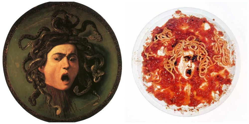 Caravaggio medusa plate 1597  // muniz marinara plate 1999