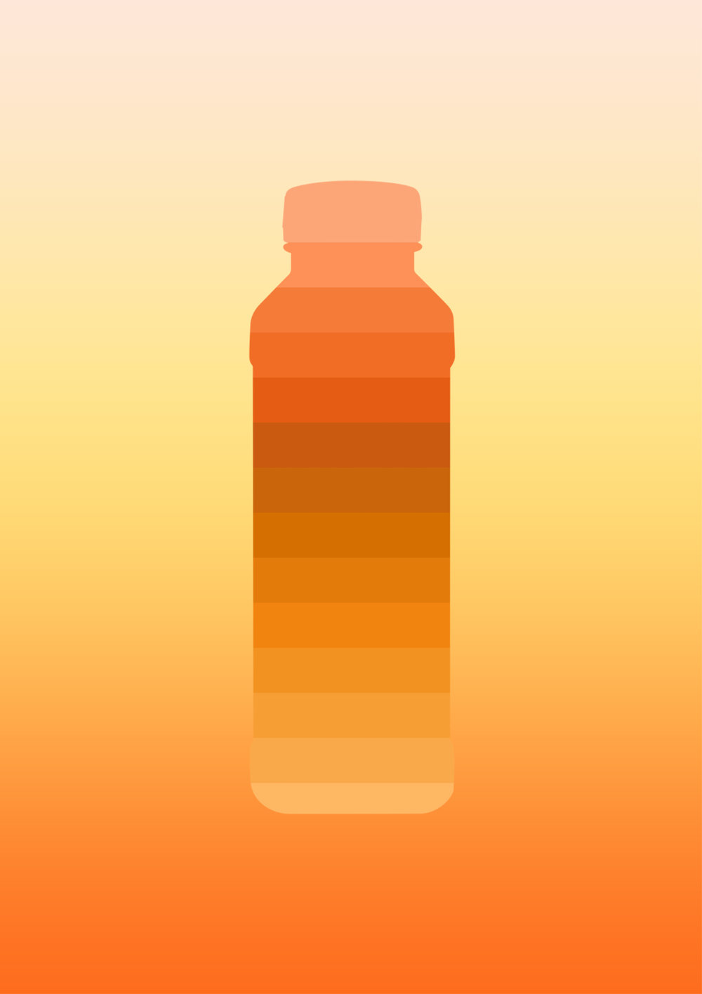 Carrots & Curcuma juice bottle / Illustrations - illustration of a gradient juice bottle inspired by carrots and curcuma