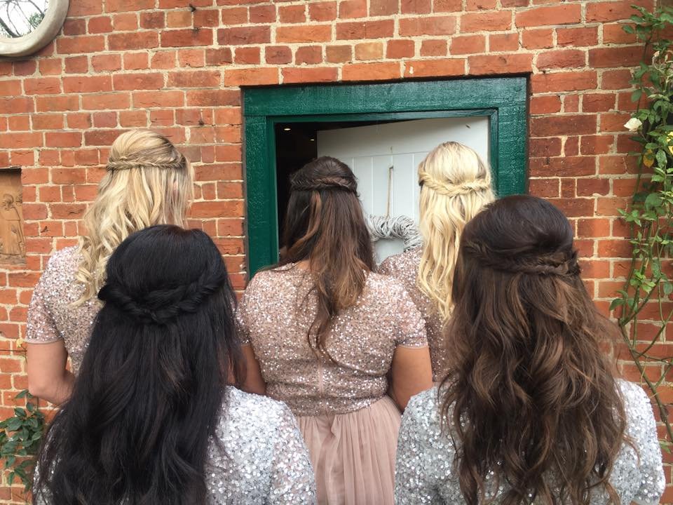 Wedding hair for a bride in Chelmsford Essex at gaynes park. Loose waves and fishtail braid. Bridesmaid hair inspo