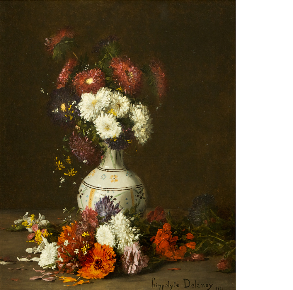 HIPPOLYTE PIERRE DELANOY (1849–1899) A Study of Flowers Oil on canvas, 57 x 49 cm. Signed