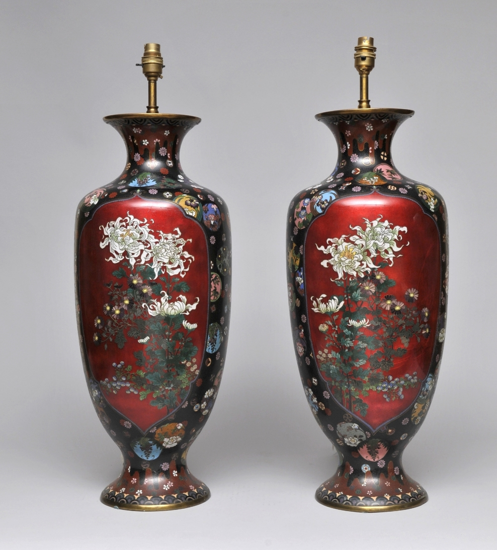 A stunning pair of Cloisonne lamp bases, circa. 1900