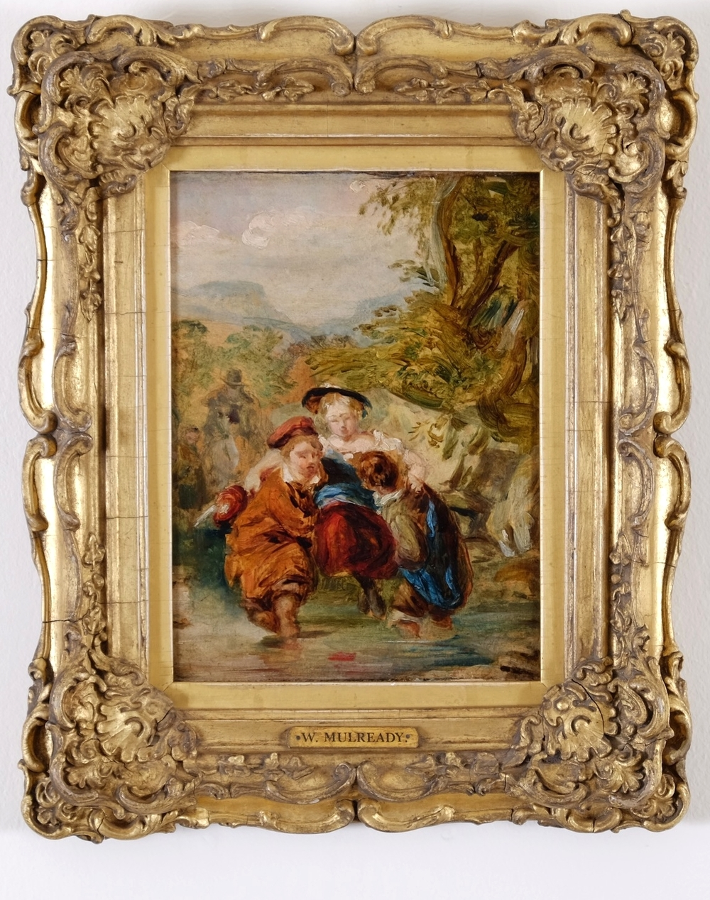 "This very special and beautiful work is the preliminary oil sketch for William Mulready's infamous painting, held by the Tate, London entitled 'Crossing The Ford"" .  The final work was exhibited with great success in 1842 at The Royal Academy and when Mulready was at the height of his career ""One of the most beautiful paintings ever produced in England"" Art Union 1842. This oil sketch held at Nigel Rhodes Fine Art Gallery, Stamford, is a small treasure illustrating to perfection that top quality paintings that pack a punch don't need to be big."