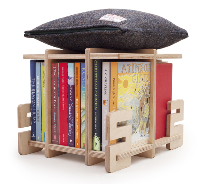 The brand new bookstool: an all British, made to order Harris Tweed stool and poof that displays your favourite books.