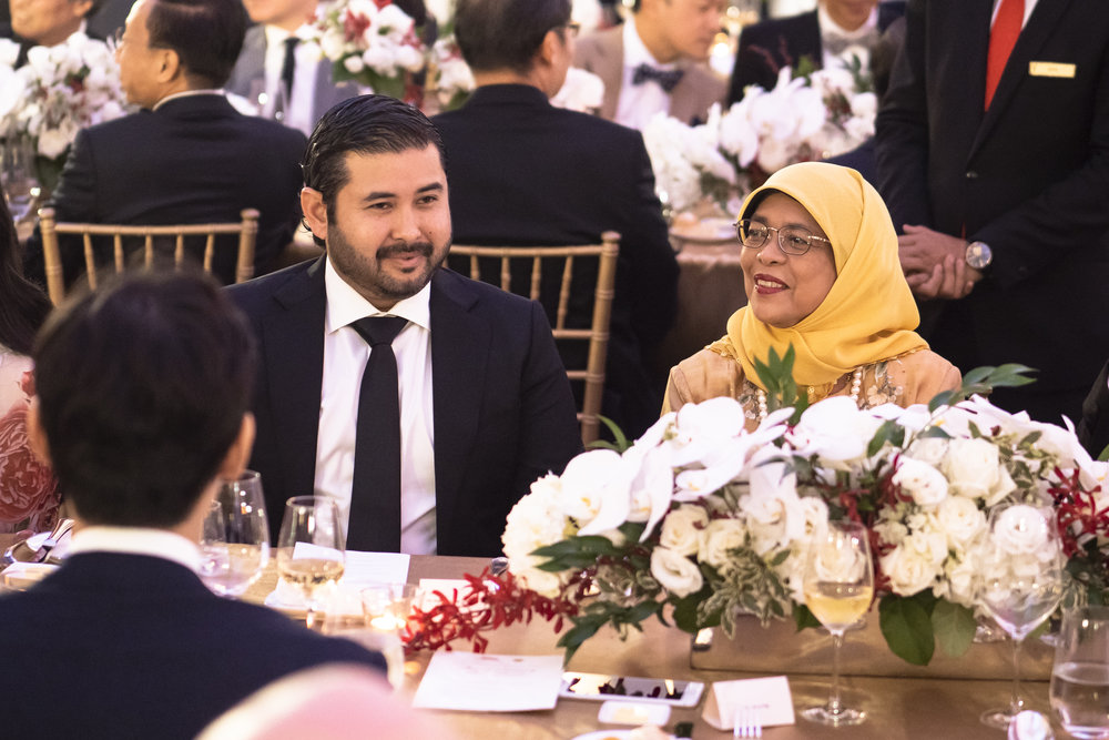 Crown Prince of Johor - Tunku Ismail Idris & President of Singapore - Halimah Yacob