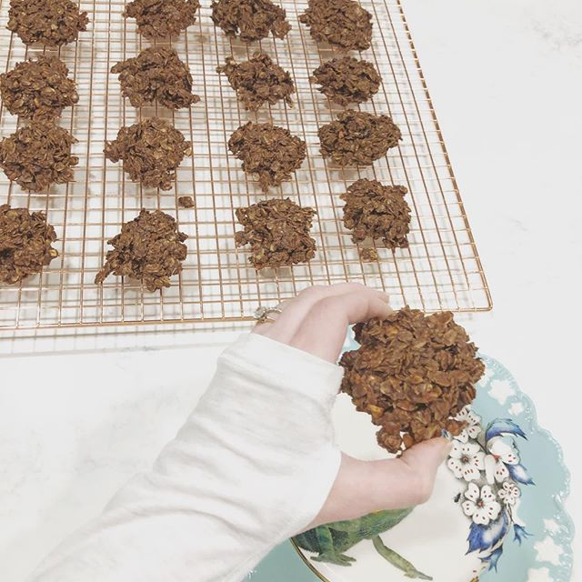 There are lots of different versions of these cookies out there, so hugs to whomever started this no-bake situation!! 🌿🍪 But to ensure it suited our family's lifestyle and health goals, I have made these cookies with less ingredients, less sugar, gluten free and dairy free! 🍪🌿 Have you ever had the dessert Puppy Chow or Muddy Buddies? These are as close as I could get without the toxic sugars and gut wrenching ingredients! 🌿🍪 NO-BAKE MUD PUDDLE COOKIES 3 1/2 cup GF oats 1/2 cup coconut oil 1/2 cup natural peanut butter   I used chunky 3/4 cup DF GF chocolate chips 1/2 tsp sea salt 1 tsp vanilla METHOD OF LOVE: 1. On medium heat combine all ingredients EXCEPT the oats and vanilla. 2. Once starts to bubble remove from heat. Add vanilla. Continue stirring. 3. Pour the melted heavenly-smelling mixture over the GF oats in large stainless or glass bowl. 4. Once mix is not too hot to handle, scoop a heaping Tbs of mixings onto cookie sheet layered with parchment paper. The cookie will form solid however it's placed onto the tray. 5. Let cool in fridge for 30 minutes or until cookie is set before eating *if you don't end up eating the entire batter first!!! 🍪🌿 Best kept refrigerated in glass container. XO Enjoy these treats my Sweets! Seriously thrilled with this recipe :))))) #cookies #glutenfree #dairyfree #nobakedessert #makelovetoyourlife