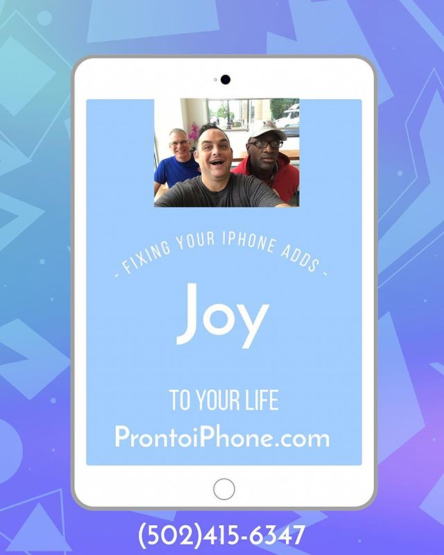Add some joy to your life this week. My ProntoiPhone.com repair service comes to your home, office, or a close #coffeeshop to replace that #CrackedScreen. We can have a nice chat and you will leave happier. Guaranteed. My name is Jason. Call/iMessage me at 502-415-6347 or schedule at ProntoiPhone.com. #Louisville #Repair #Fast #iPhone