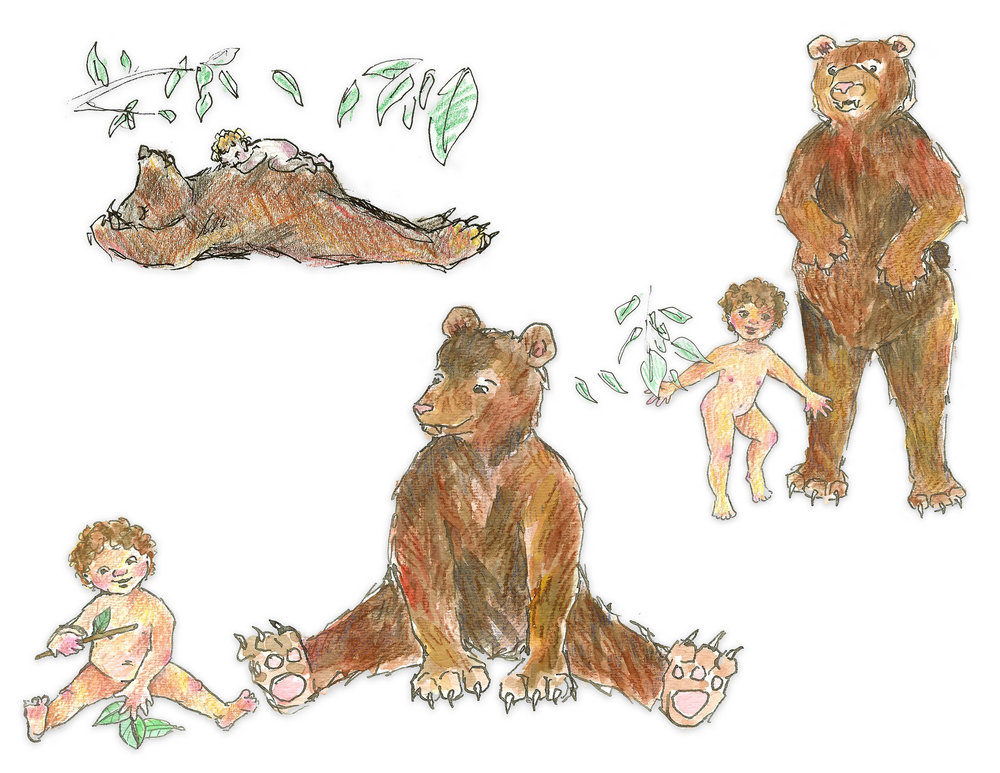 Concept illustrations for a children's book:  Babe and Bear
