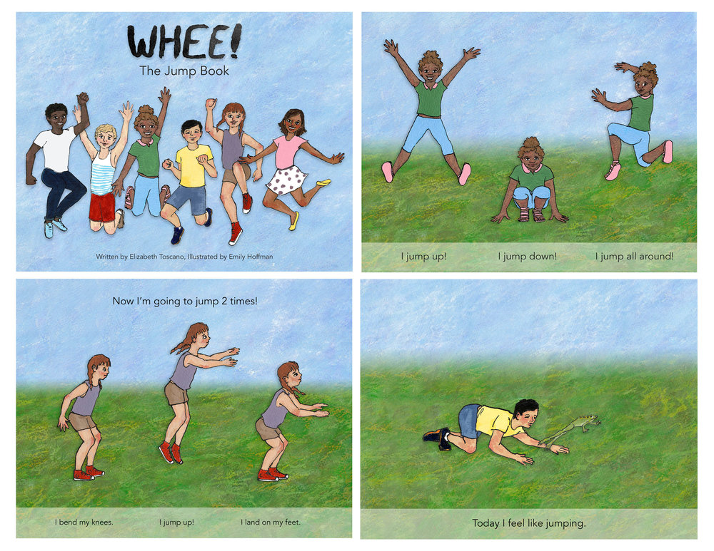 Select pages from  WHEE! The Jump Book : a book teaching children with developmental disabilities how to jump. Below are select gifs from the digital version of the book.