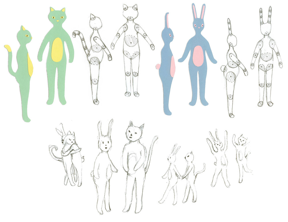 Concept art and paper puppet designs for a Sesame Workshop digital series:  Kat and Bunny.  Below are sample animations for the character's eye movements.