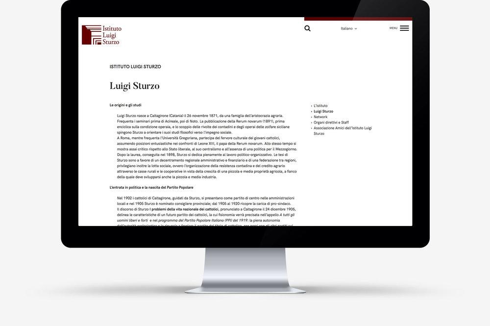 Website Istituto Luigi Sturzo / Pagina tipo