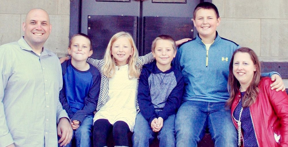 Justin James serves as lead pastor of Belle City Church. Serving with Justin are his wife, Laurie, and their children (left to right) Caleb, 10; Charity, 6; Matthias, 9; and Jonathan, 13.