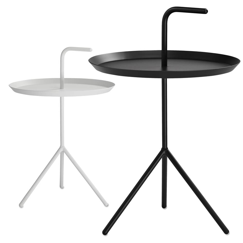 DLM / Don't Leave Me   Thomas Bentzen  Sidobord.  Cremefärgat bord i lackat stål.   B:38, D:38, H:44/58.     Lagerstatus: I lager.