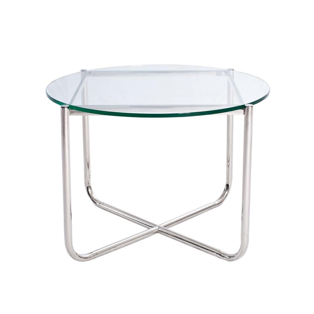 Glas/Krom Mies van der Rohe    Bord med underrede i krom och glasskiva, 12mm.   H: 525mm, D 715mm.    Lagerstatus: I lager.