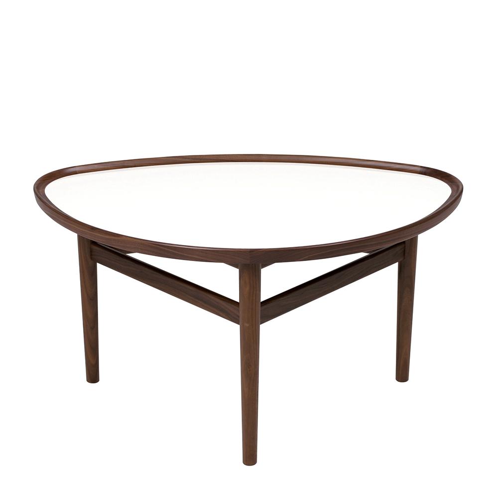 Model 48 - Öjebord (Eyetable)   Finn Juhl   Soffbord. Bordet går att få antingen i teak eller valnöt med bordsskiva i högglans laminat (vit eller svart).   B:56, L:90, H:50.     Lagerstatus: I lager.