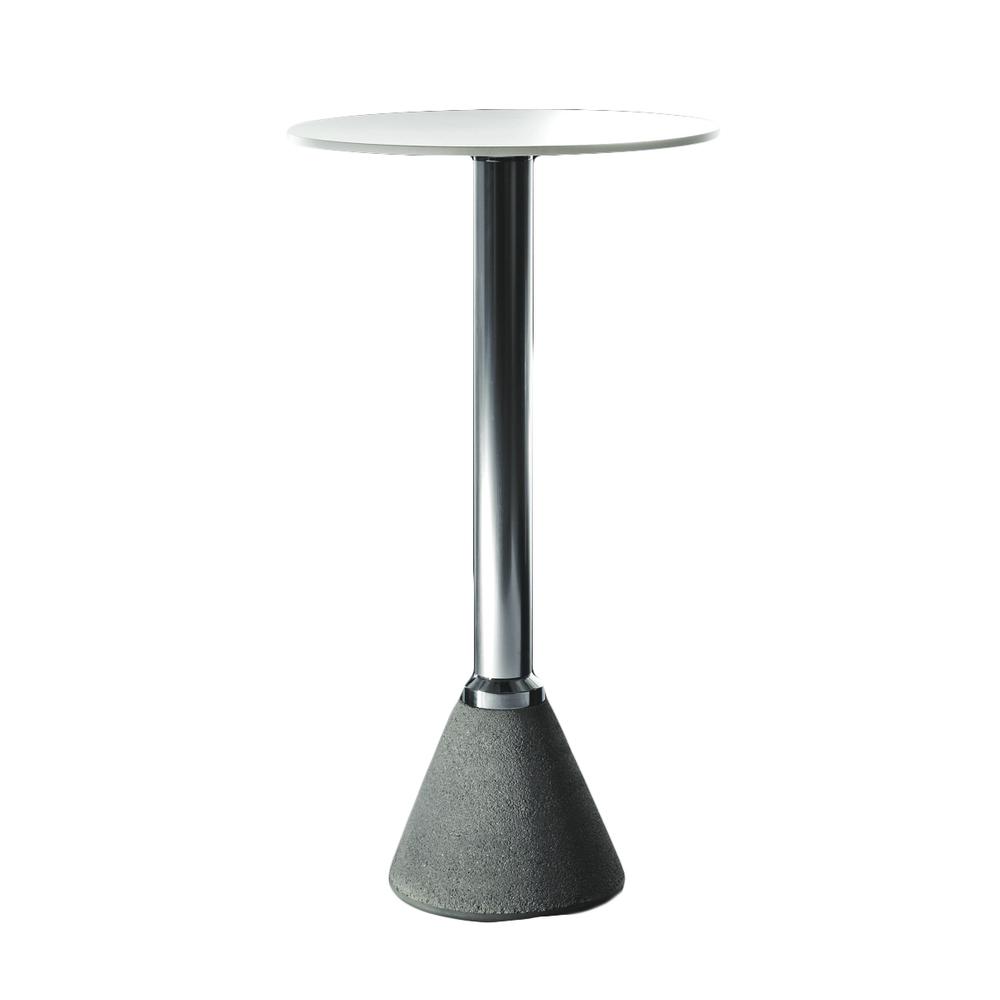 Table one bistrot   Konstantin Grcic  Barbord med betongfot.  Aluminium med betongfot, bordsskiva i vit eller svart HPL laminat. H110 cm,  Ø 60 cm.     Lagerstatus: I lager.