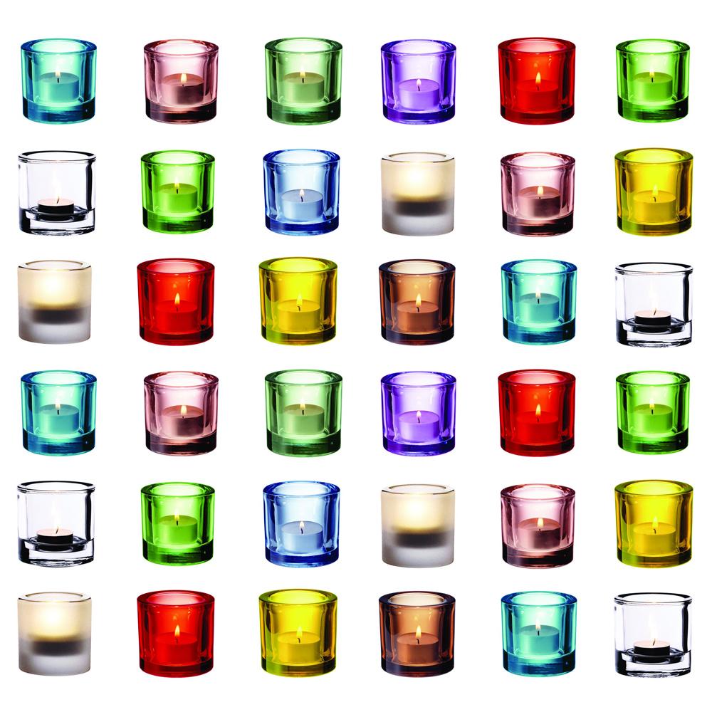Iittala  Ljuslyktor i olika färger.   Lagerstatus: I lager.
