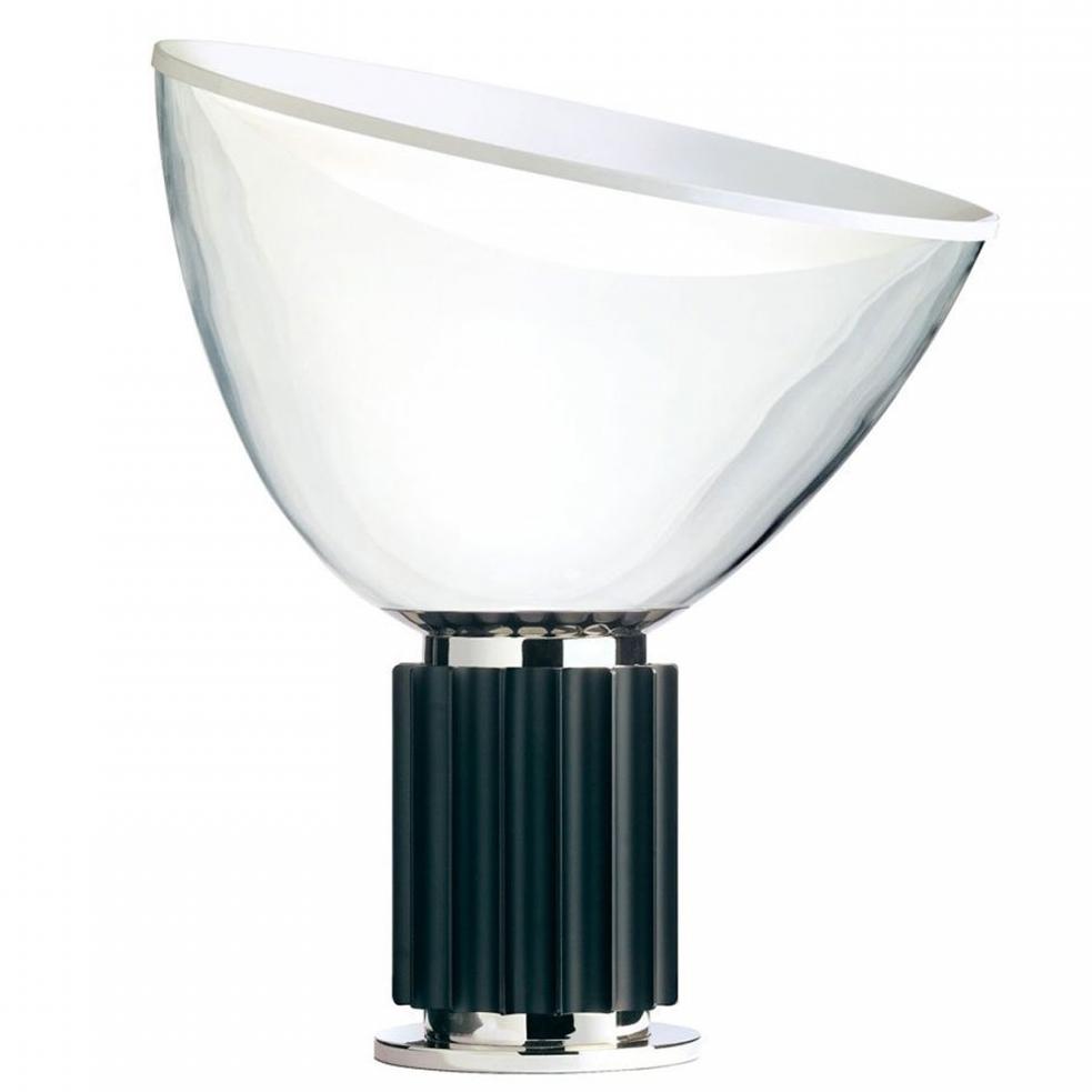 FLOS Taccia   Bordslampa av Achille och Pier Giacomo Castiglioni från HAY i svart aluminium och glas.  Ø: 37,3cm H:48,5.   Lagerstatus:I Lager