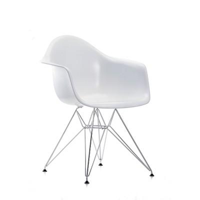 Eames Plastic armchair DAR VITRA   Utan klädsel skal i genomfärgad polypropylen vit, underrede i kromad metall   Lagerstatus: I lager