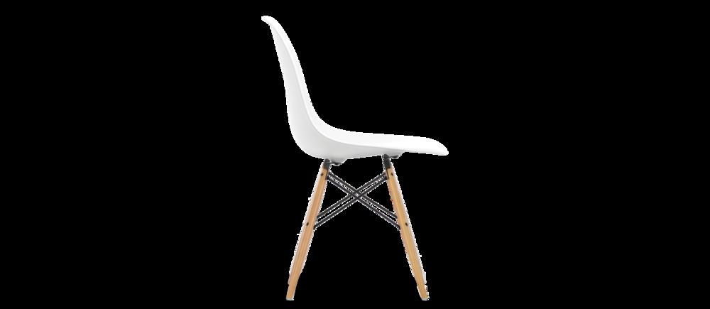 Eames Plastic side chair DSW Vitra   B 46,5 cm, H 83 cm, Sitthöjd 43 cm, D 55 cm,  Skal i polypropylen, ben och underrede im metall och lönn