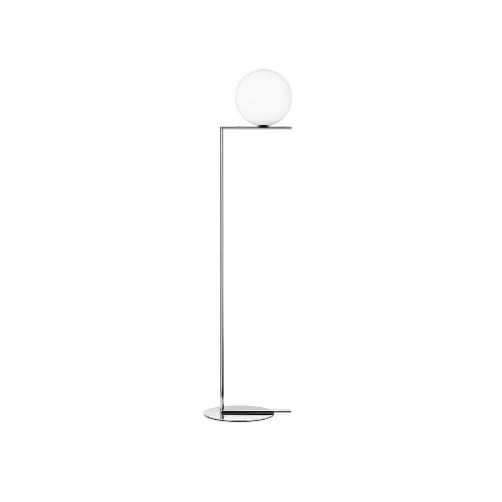 F L O S   IC LIGHTS F1 KROM Golvlampa  Höjd: 135 cm, Klot: 20 cm Bas 27,5 cm  Massiv krom handblåst glas   Lagerstatus: I lager