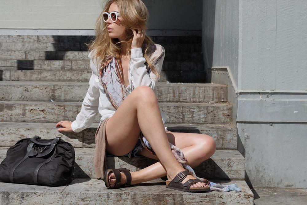 pantsVintage shirtZara ringsCartier RuthSellack sunglassesEmmanuelle Khanh scarfAmaranda bagPrada shoesBirkenstock