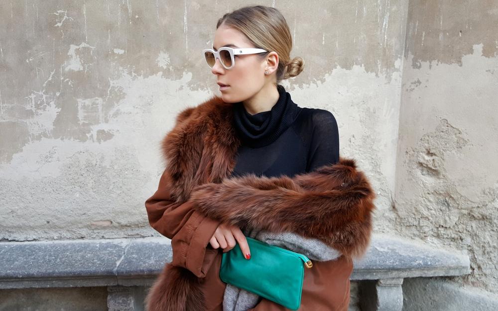 coat Vintage knitwear H&M clutch Gucci sunglasses Emmanuelle Khanh scarf H&M boots Zara