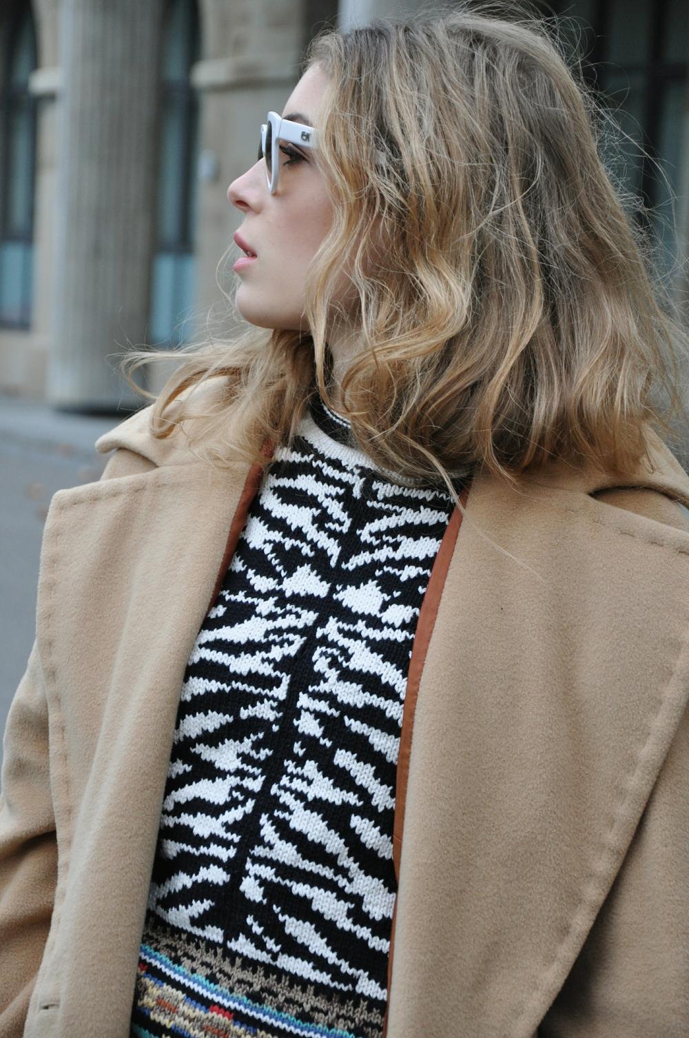 coatVintage pull Jet Set jeans COS earrings H&M purse Prada sunglasses Emmanuelle Khanh shoes Zara