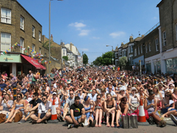 Crowds watching the Wimbledon Men's Final on our big screen