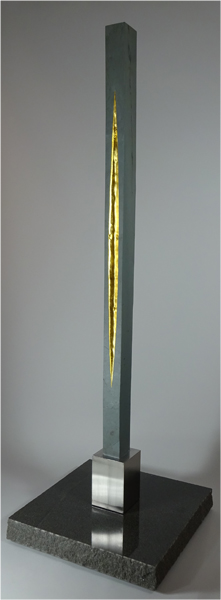 "Gnomen 2  Slate, 24K Gold, Stainless Steel, Granite 94"" x 30"" x 30"" 2014 $17,700"