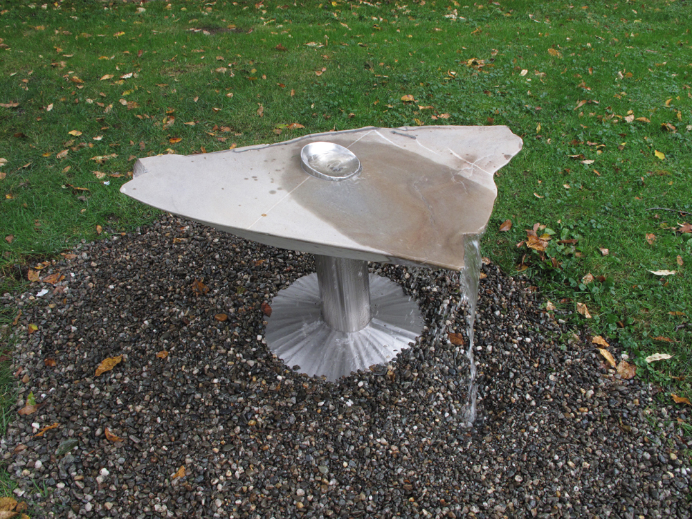 "Water Veil Quartzite and Stainless Steel 27"" x 48"" x 30"" 2012 $4,400"