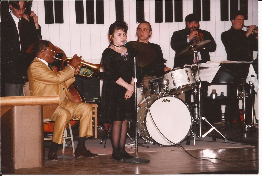 Champian on stage with Clark Terry, mid 1990's.