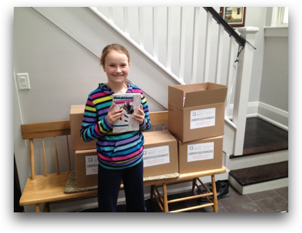 Emma Biggs with her first book.Great job Emma!