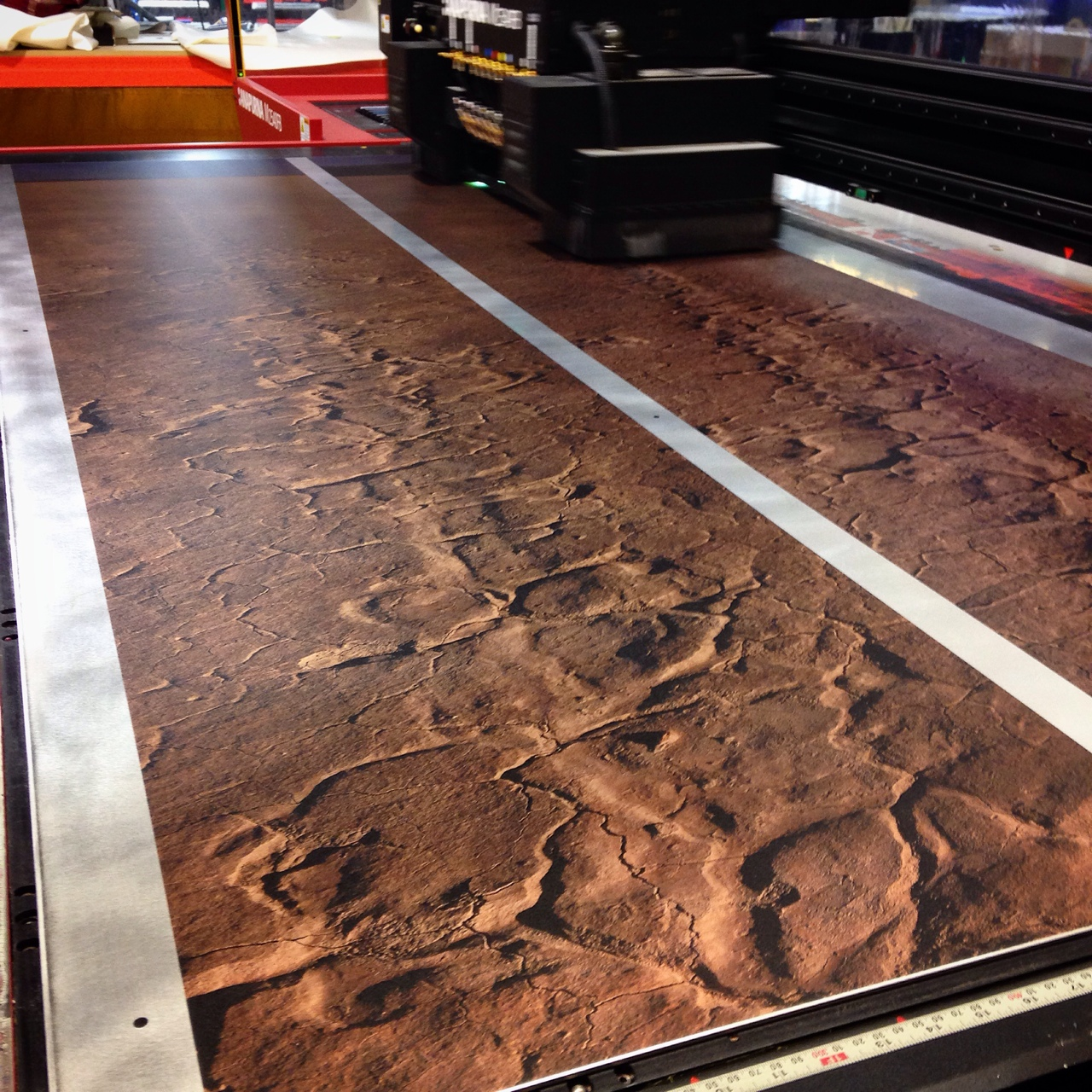 Printing photos of tracks in the desert.
